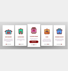 Slow cooker elements collection onboarding vector