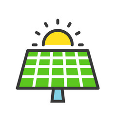 Solar cell panel and sun green energy icon filled vector