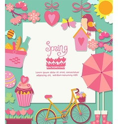 Spring background with cuteicons and frame vector image
