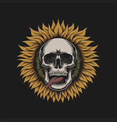 sunflower skull vector image