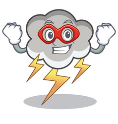 Super hero thunder cloud character cartoon vector