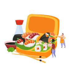 sushi flat composition vector image