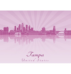 Tampa skyline in purple radiant orchid vector