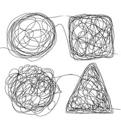 Tangle scrawl sketch set doodle drawing vector