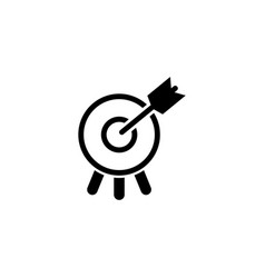 target with arrow in bullseye flat icon vector image
