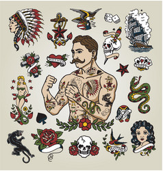 tattoo flash set with hipster man vector image