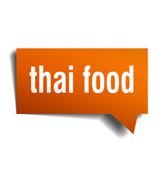 Thai food orange 3d speech bubble vector