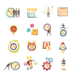 time management retro cartoon icons set vector image