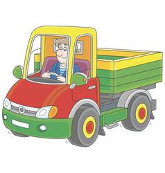 Truck driver riding vector