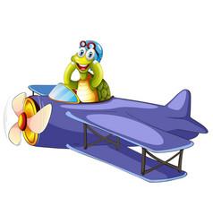 Turtle riding vintage airplane vector