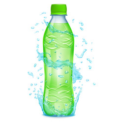 water splashes around a plastic bottle vector image