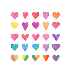 watercolor heart set hand drawn hearts collection vector image