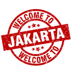 Welcome to jakarta red stamp vector