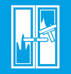 Window cleaning icon white vector