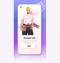Workman in uniform with usa flag labor day vector