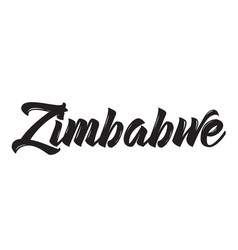 zimbabwe text design calligraphy vector image