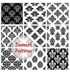 damask ornament seamless patterns set vector image