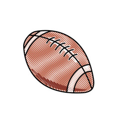 drawing american football ball sport competition vector image