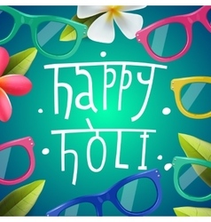 Happy Holi poster of indian color festival vector image