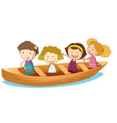 happy kids rowing boat vector image