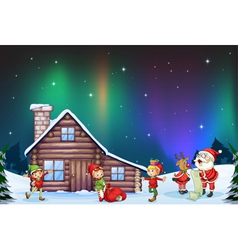 santa clause kids and reindeer vector image vector image