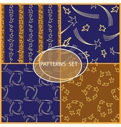 Set of seamless patterns with cartoon stars and vector image vector image