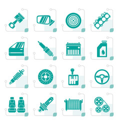 stylized detailed car parts icons - icon se vector image vector image