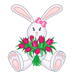 bunny with bouquet of tulips vector image