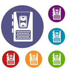 dictaphone icons set vector image vector image