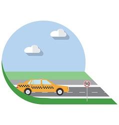 Flat design city Transportation city taxi side vector image