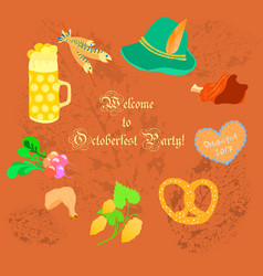 oktoberfest leaflet with symbolic objects vector image vector image