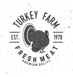 turkey farm badge or label vector image