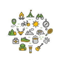 Camping Tourism Hiking Round Design Template Thin vector image vector image