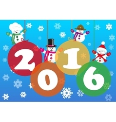 Christmas baubles of rainbow colors with snowmen vector image