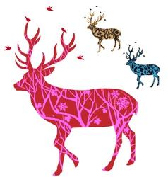 Christmas deer with birds vector image vector image