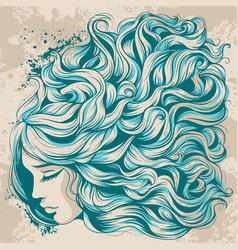 face girl with long hair beautiful hairstyle with vector image