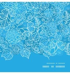 Blue field floral texture horizontal frame vector