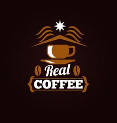 coffee shop label or banner design vector image vector image