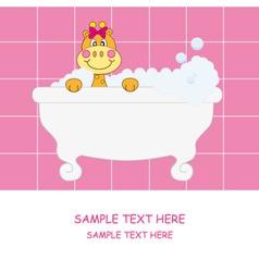 giraffe bathing pink vector image