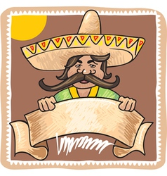 Mexican Man with Banner vector image vector image