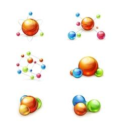 Molecule icon set vector image