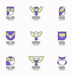 set of colorful logotypes with owls vector image