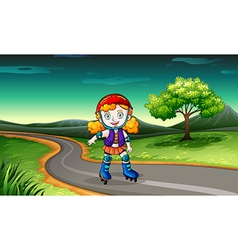 A girl rollerskating in the street vector image