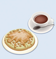 A Smoking Hot Coffee with Round Waffles vector image