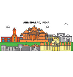Ahmedabad india asian city skyline vector