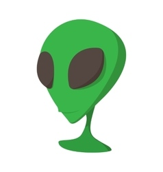 Alien green head cartoon icon vector image