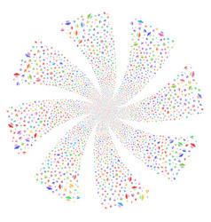 Alien invasion fireworks swirl flower vector