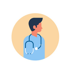 Asian man medical doctor stethoscope profile icon vector