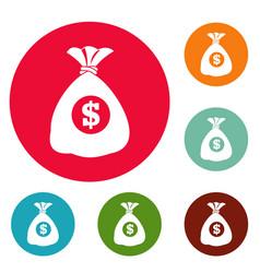 bag money icons circle set vector image