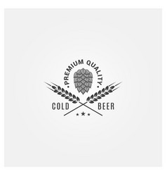 beer logo with hops and wheat on white background vector image